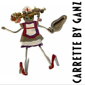 VTG Ganz Carrette Crazy Nurse Pin Brooch Jewelry